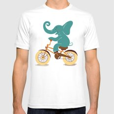 Elephant on the bike MEDIUM White Mens Fitted Tee