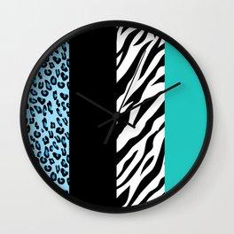 Animal Print, Zebra Stripes, Leopard Spots - Blue Wall Clock