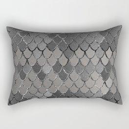 Mermaid Scales Silver Gray Glam #1 #shiny #decor #art #society6 Rectangular Pillow