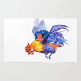 Watercolor of flying bantam Rug