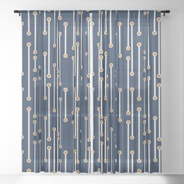 Dotted Lines in Navy, Cream and Orange Sheer Curtain