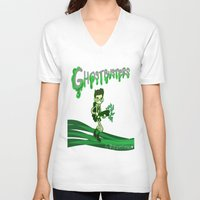 ghostbusters V-neck T-shirts featuring Ghostbusters by Glopesfirestar