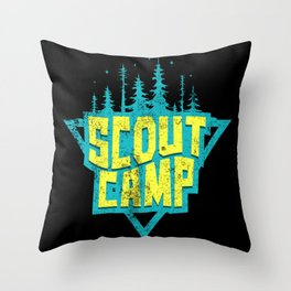 Scout Camp Camping Forest Throw Pillow
