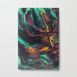 Neon Fluid Metal Print