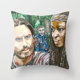 Richonne and 3 random zombies Throw Pillow