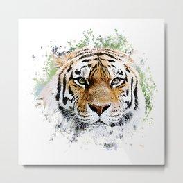 Thinking Tiger Metal Print