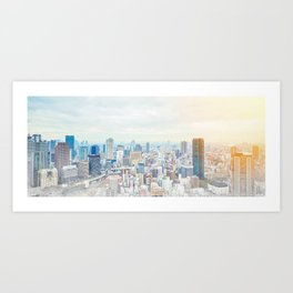 modern city skyline aerial view under sunrise and blue sky in Osaka, Japan Art Print