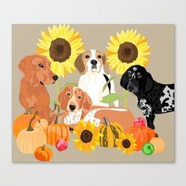 Coonhound Autumn Canvas Print