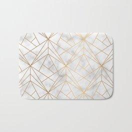 Geometric Gold Pattern on Marble Texture Bath Mat