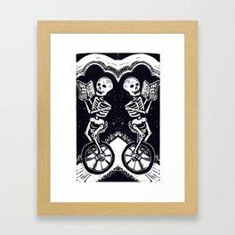 Unicycle Skeletons Framed Art Print