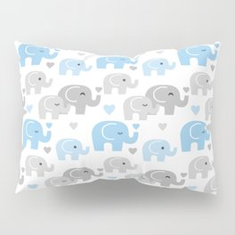 Blue Gray Elephant Baby Boy Nursery Pillow Sham