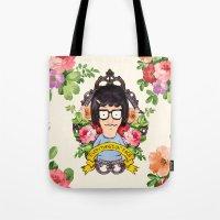 tina Tote Bags featuring Tina - Everything's ok face  by Sara Eshak