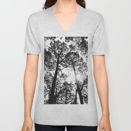 trees, black and white -  Forest landscape photography Unisex V-Neck