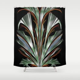 Retro Abstract Floral Design Shower Curtain