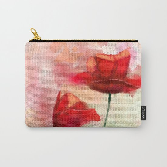 Red Poppy watercolor painting Carry-All Pouch
