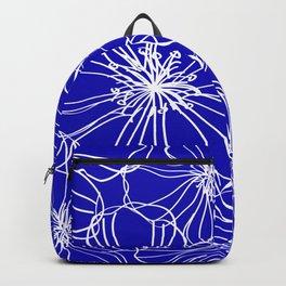 Floral, Line Art, Blue and White, Minimal Art Backpack