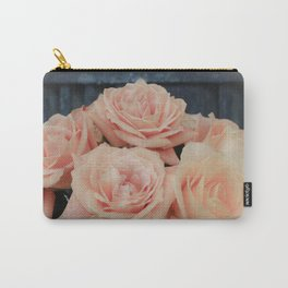 Peach Roses Vinette Country Farmhouse Style Photography Carry-All Pouch
