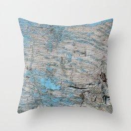 Peeled Blue Paint on Wood rustic decor Throw Pillow