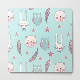 Modern Animals Pattern Metal Print