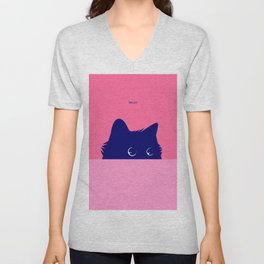 Blue Cat on Deep Pink Unisex V-Neck