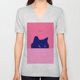Cat on Deep Pink Unisex V-Neck