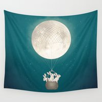 bunnies Wall Tapestries featuring moon bunnies by Laura Graves