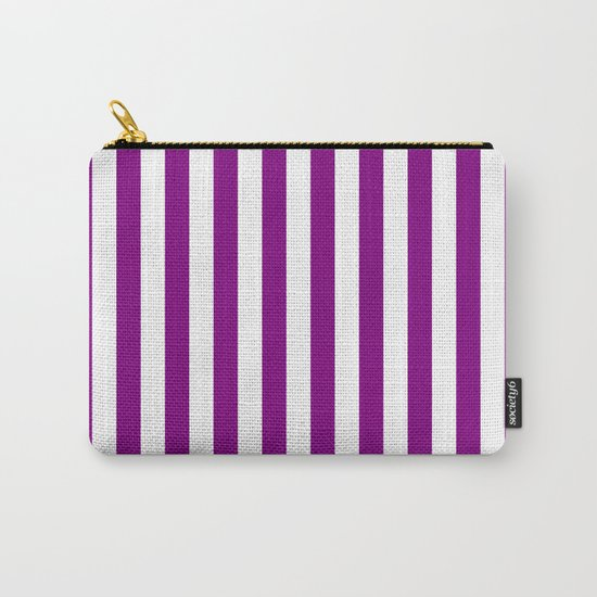 Vertical Stripes (Purple/White) Carry-All Pouch