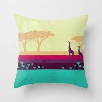 safari Throw Pillows featuring Safari by Kakel