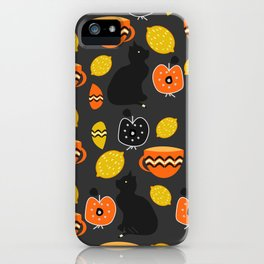 Cats, lemons and teacups iPhone Case