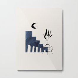 Mid Century Modern Minimalist Ancient Ruins Midnight Blue Paper Collage Potted Plant Legs by Ejaaz Haniff Metal Print