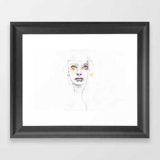 Golden eyes girl Framed Art Print