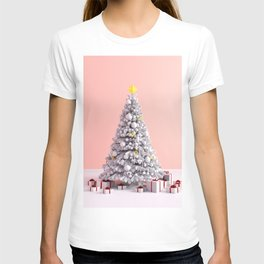 Christmas Background on Pink as a Festive Abstract T-shirt