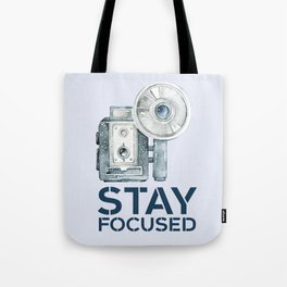 Stay Focused in Watercolor and Typography Tote Bag