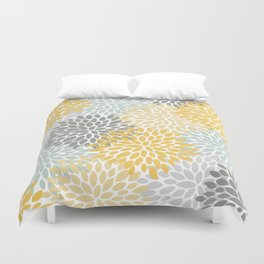 Floral Pattern, Yellow, Pale, Aqua, Blue and Gray Duvet Cover