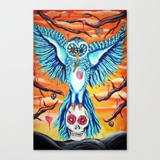 The collector, owl art graveyard skull Canvas Print