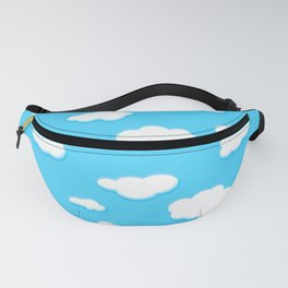 sky of blue and fluffly white clouds Fanny Pack