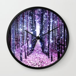 Magical Forest Path Lavender Pink Periwinkle Wall Clock