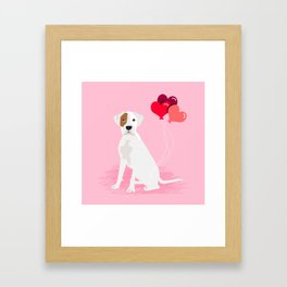 Boxer dog white brown spot lover valentines day heart balloons must have gifts for Boxers Framed Art Print
