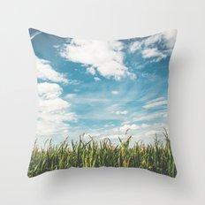 Green Field Blue Sky Throw Pillow
