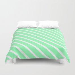 Mint Diagonal Stripes Duvet Cover