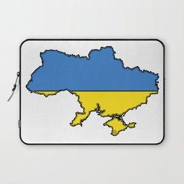 Ukraine Map with Ukrainian Flag Laptop Sleeve