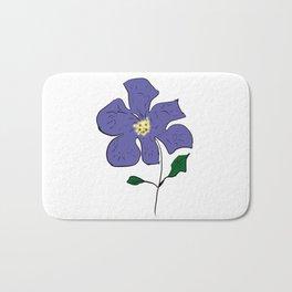 sketch of an indigo flower Bath Mat