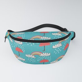 April showers rainbow Clouds Teal #nursery Fanny Pack