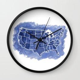 Watercolor Map of America Wall Clock