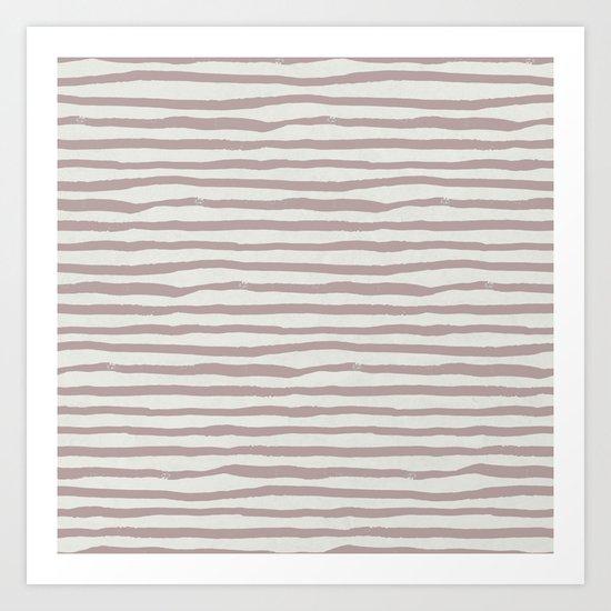 Simply Shibori Stripes Clay Pink on Lunar Gray Art Print