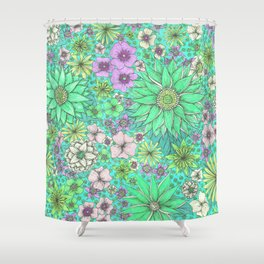 Secret Garden Mint Shower Curtain