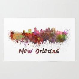New Orleans skyline in watercolor Rug