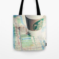starbucks Tote Bags featuring Manhattan and Starbucks by Kim Fearheiley Photography