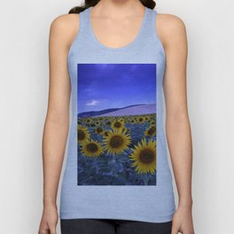 Sunflowers At Blue Hour . Square Unisex Tank Top