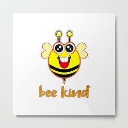 Bee Kind Cute Bumble Anti Bullying Funny Bumblebee For Kids Metal Print